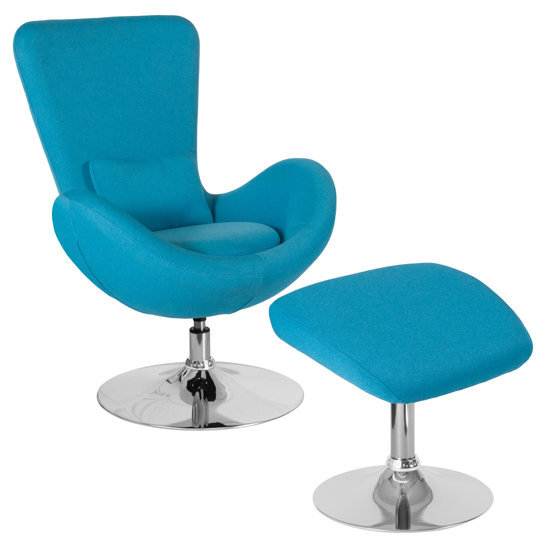 Flash Furniture Egg Series Aqua Fabric Side Reception Chair with Ottoman