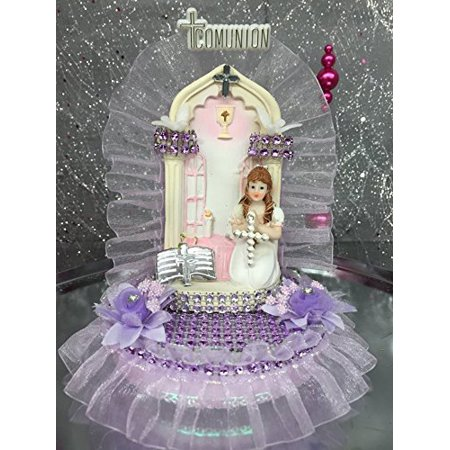 First Holy Communion Praying Girl with Church Back Cake Topper Keepsake Decoration](First Communion Cake Topper)