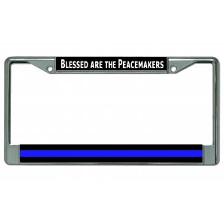 Blessed Are The Peacemakers Thin Blue Line Chrome License Plate ...