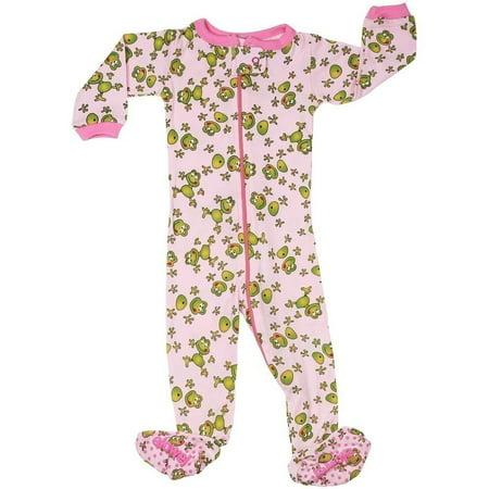 - Elowel Little Girls Pink Green Frog Print Zipper Footed Pajama Sleeper 2-5