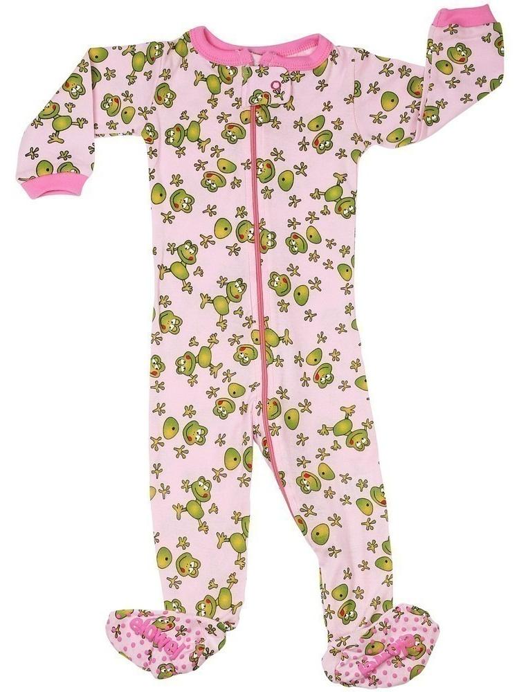 Elowel Little Girls Pink Green Frog Print Zipper Footed Pajama Sleeper 2-5