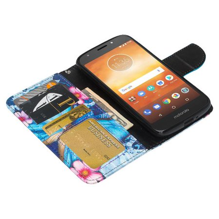 Moto E5 Plus Case, Moto E5 Supra Case,Cute Girls Women Pu Leather Wallet Case with ID Slot & Kickstand Phone Case for Motorola Moto E5 Plus - (Blue Butterfly) - image 2 of 6