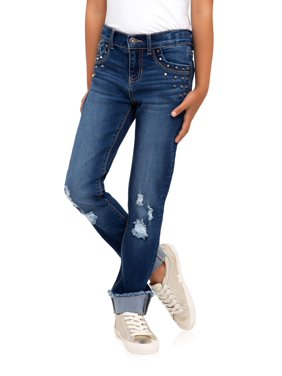 Jordache Distressed Roll Cuff Jean (Little Girls, Big Girls & Plus)