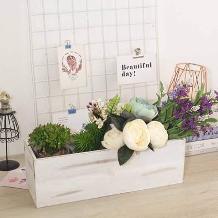 Efavormart White Rectangle Wood Boxes DIY Rustic Wooden Planter Boxes With Plastic Liner](Wood Planter Boxes)