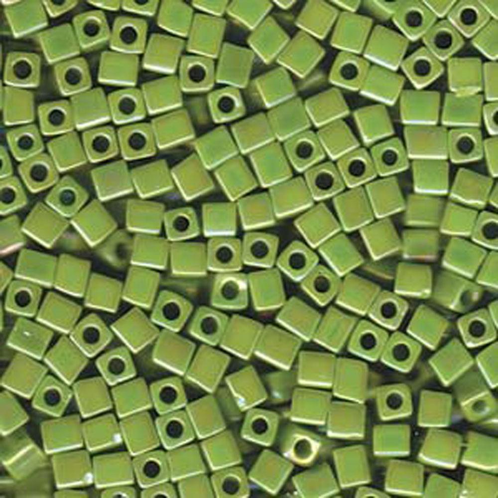 20 Grams Opaque Chartreuse Rainbow Miyuki 4mm Square Cube Glass Seed, Loose Beads, SB4-416R-TB
