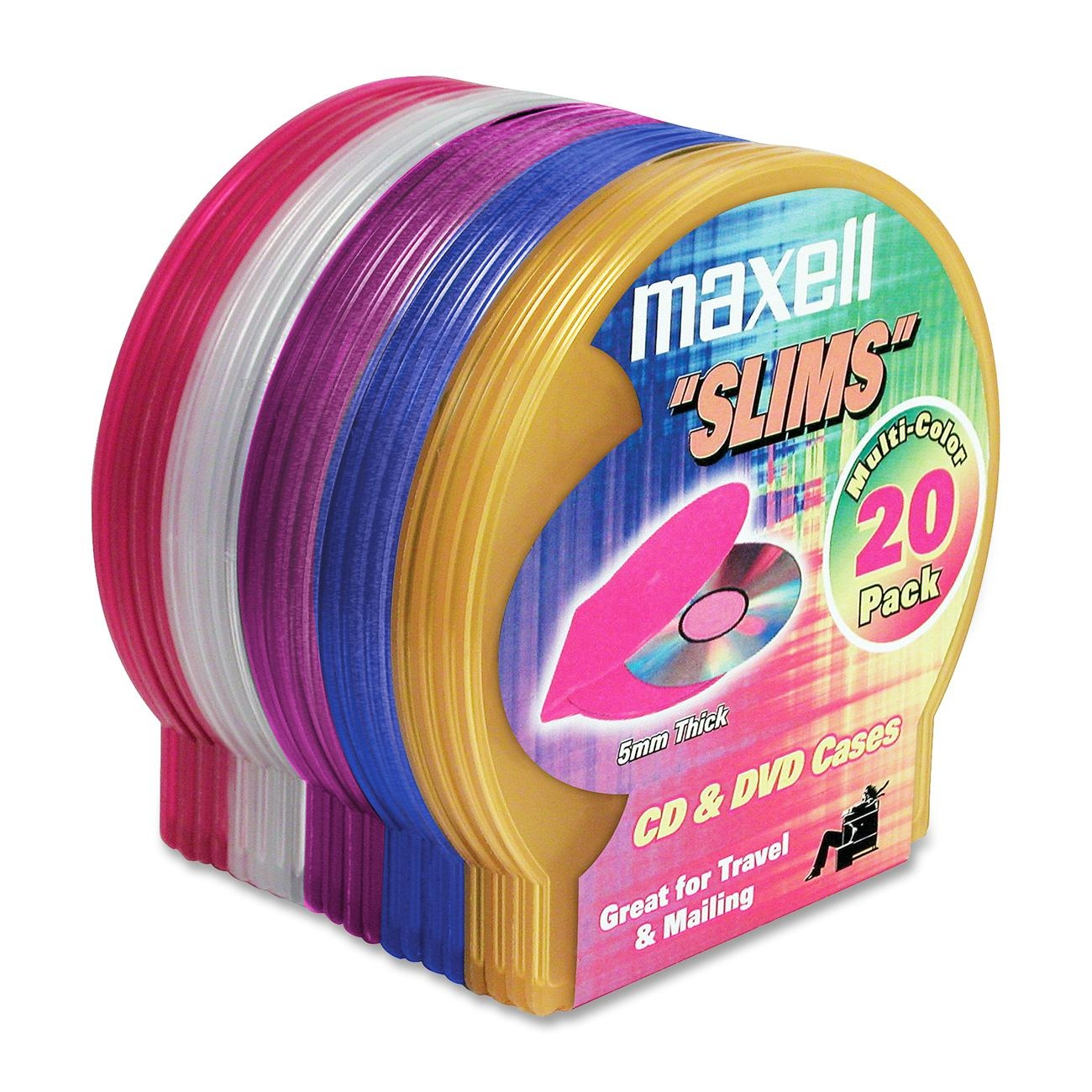 Maxell CD-355 Jewel Plastic Cases - Random Colors, 20-Pack