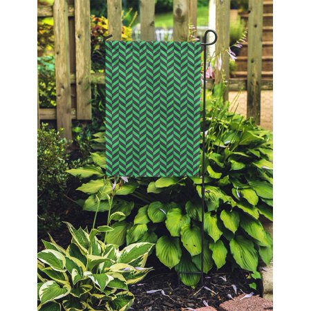 NUDECOR Abstract Black and Green Herringbone Pattern Beautiful Geometric Graphic Graphical Garden Flag Decorative Flag House Banner 12x18 inch - image 2 of 2
