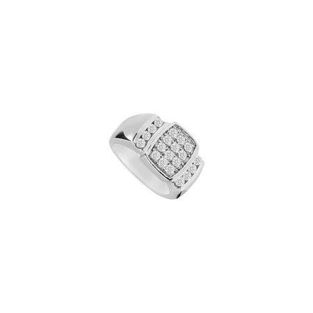 14K White Gold 0.60 CT Diamond Ring for Mens, Size 10.5 (14k White Gold Ring For Men)
