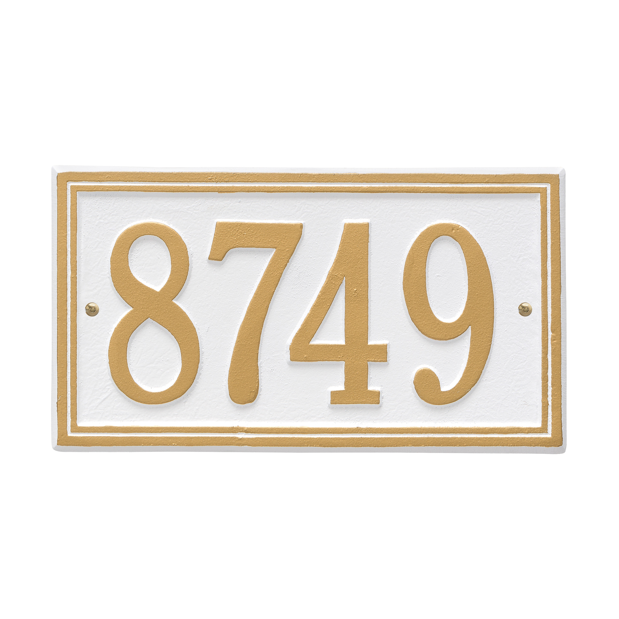 Personalized Whitehall Products Double Border1-Line House Numbers Plaque in White/Gold