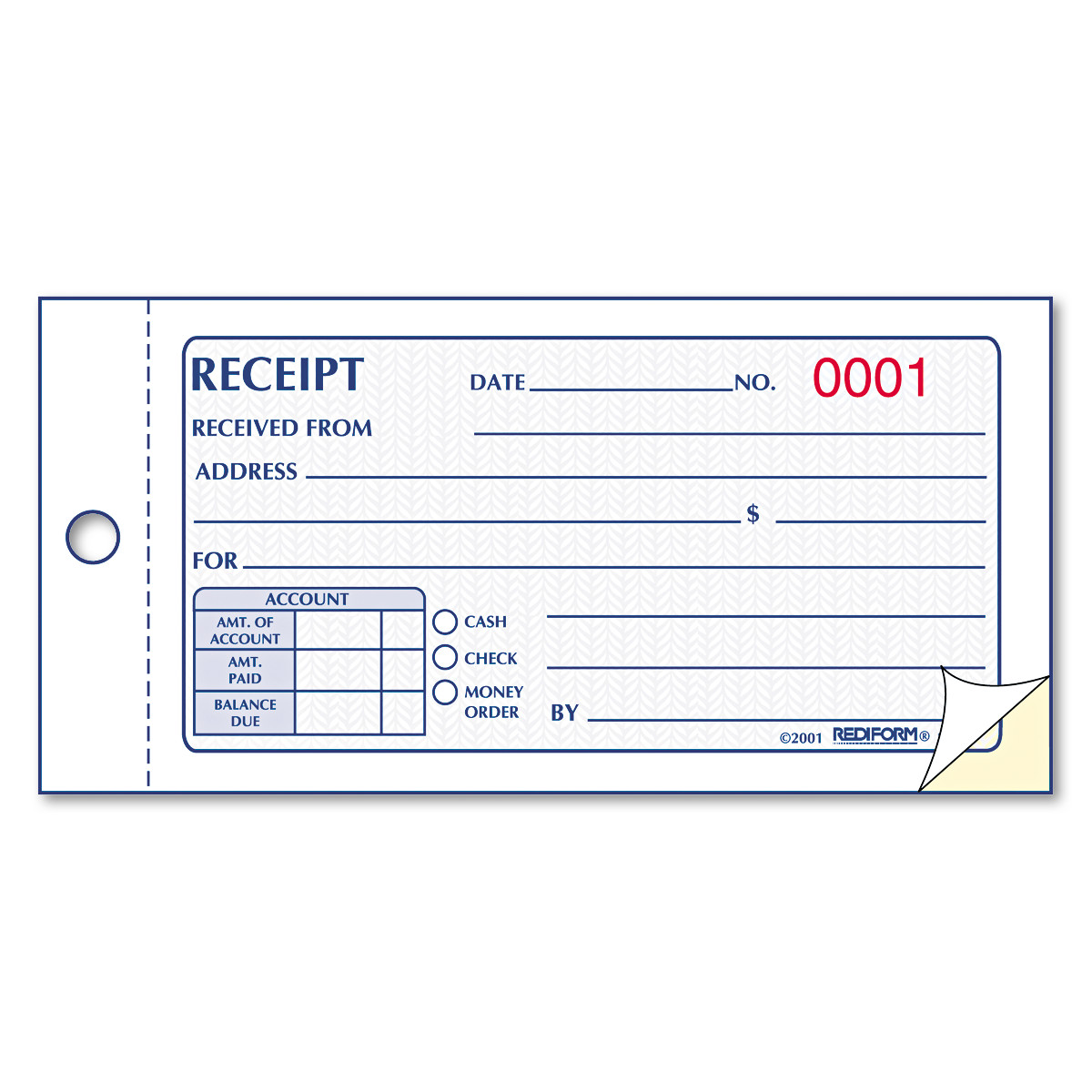 Rediform Small Money Receipt Book, 5 x 2-3/4, Carbonless Duplicate ...