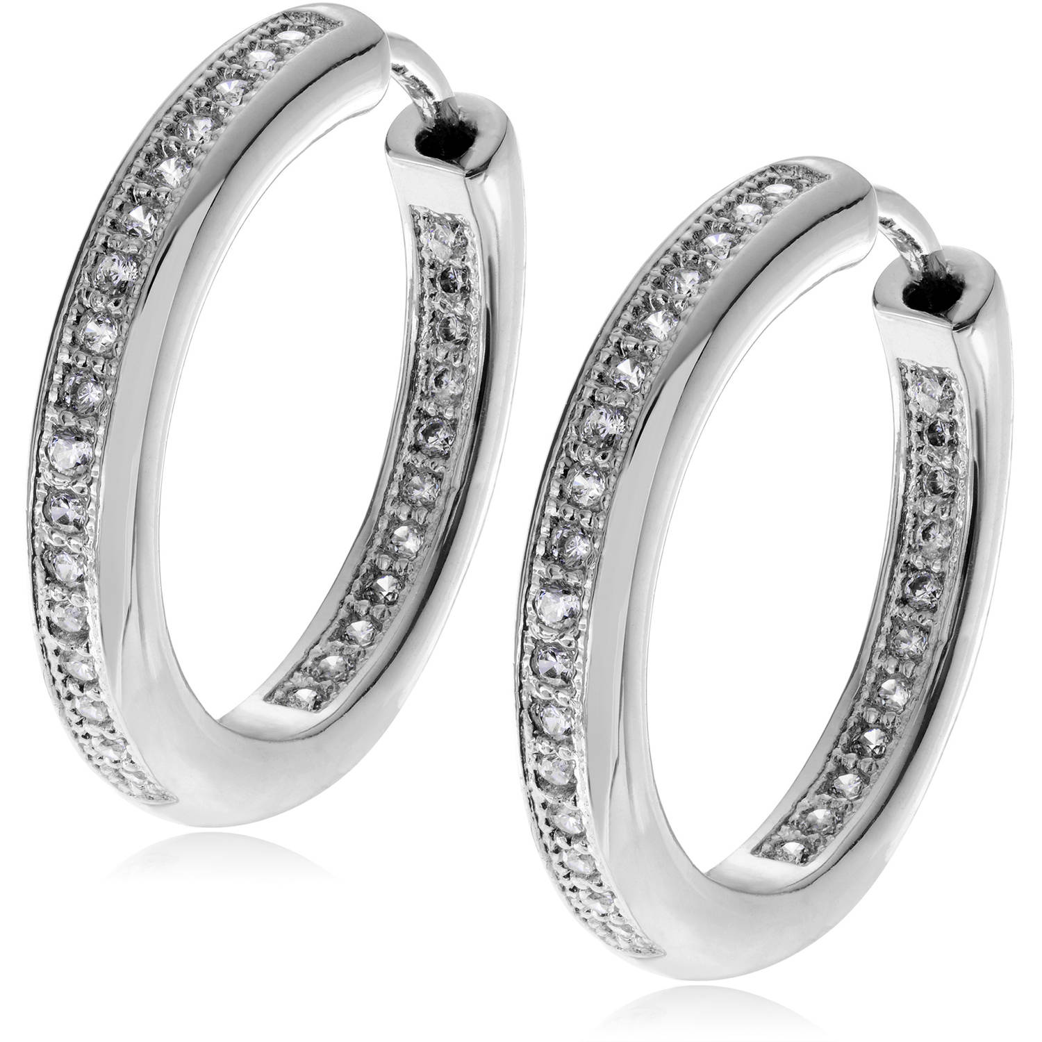 Brinley Co. Women's CZ Sterling Silver Hoop Earrings