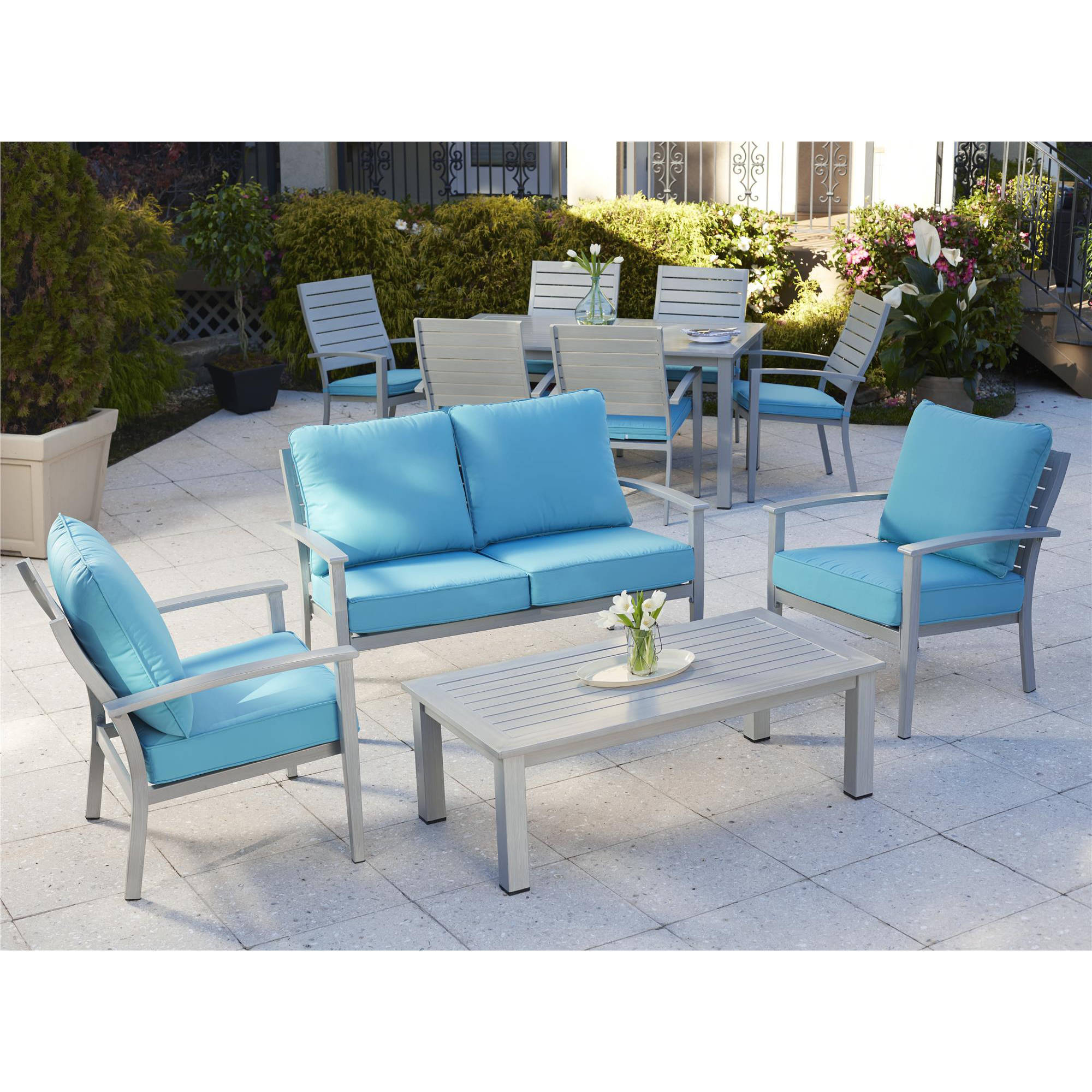 Cosco Outdoor Living Blue Veil 7 Piece Aluminum Dining Set