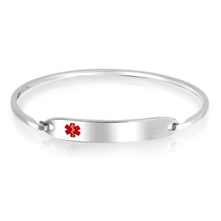 Medical Identification Doctors Engravable Medical Alert ID Bangle Bracelet For Women Silver Tone Stainless Steel (Engravable Medical Id Bracelet)