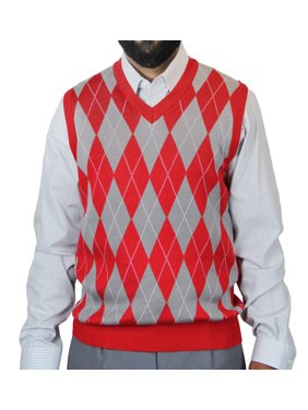 Big and Tall V-Neck Jacquard Casual Argyle Sweater Vest
