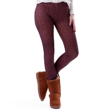 f2e4d6b8043a0 HDE - HDE Women Winter Nordic Leggings Fleece Line Thermal Insulated  Stretch Pants (Brown Denim Jeggings, XL) - Walmart.com