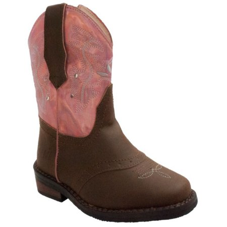 Pink And White Cowboy Boots (Adtec Case IH Western Light Up Cowboy/Girl Boot Faux Leather Brown/Pink)