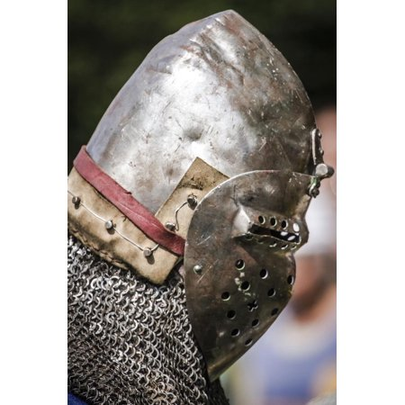 Historical Reenactment: Soldier with Helmet and Aventail (Curtain of Chain Mail), 14th Century Print Wall Art - Soldier With Helmet