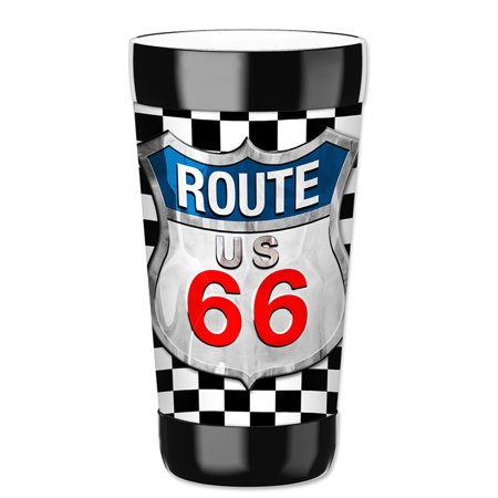 Mugzie 16-Ounce Tumbler Drink Cup with Removable Insulated Wetsuit Cover - Checkered Flag Route 66 for $<!---->