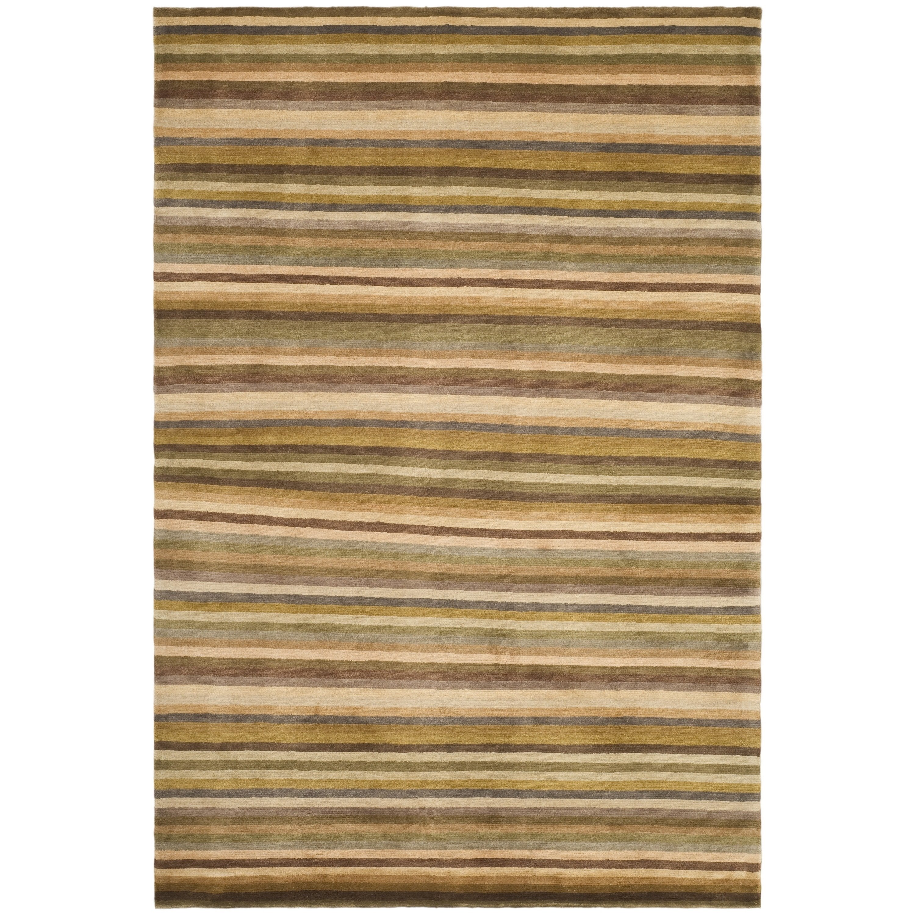 Safavieh  Hand-knotted Tibetan Striped Coffee/ Olive Wool...