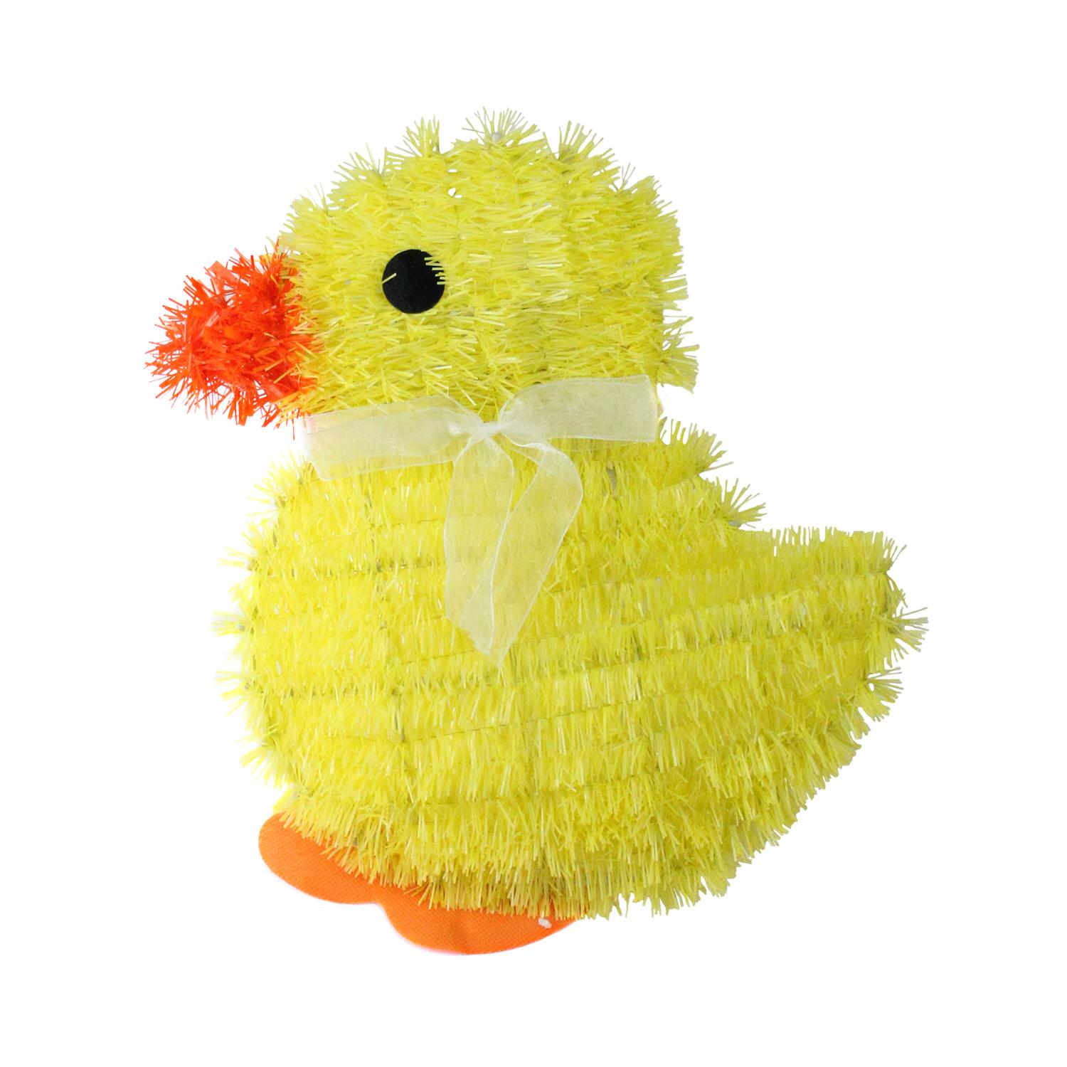"""11.5"""" Yellow Tinsel Easter Chick Spring Window Decoration"""