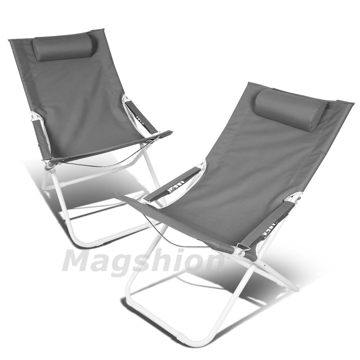 Magshion Deluxe 4 position Beach Camping Patio Outdoor Travel Recliners Chair Set of 2 Black
