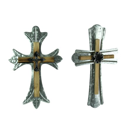 Two Piece Wood Wall - Rustic Wood and Galvanized Metal Triple Layered Wall Cross 2 Piece Set