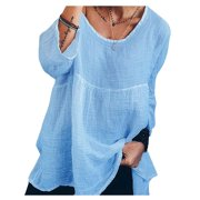 Women's Long Sleeve Plus Size Baggy Casual Peasant Loose Tunic Tops