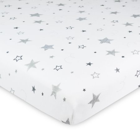 American Baby Co. Cotton Jersey Knit Fitted Bassinet Sheet, Grey Super Stars