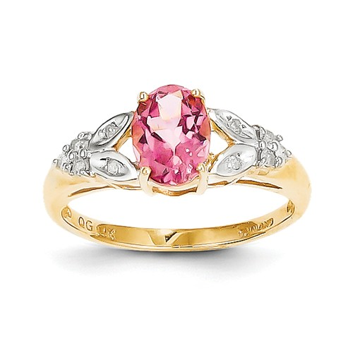 14k Yellow Gold Oval Pink Tourmaline & Diamond Gemstone Ring. Carat Wt- 0.02ct by Jewelrypot