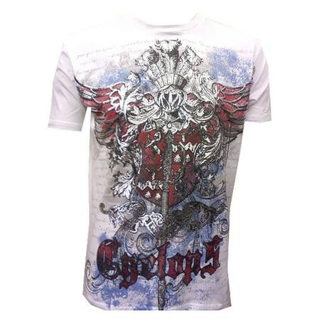 Hardcore Mma T-shirt (Konflic NWT Men's Cyclops Graphic Designer MMA Muscle Crewneck T-shirt, White)