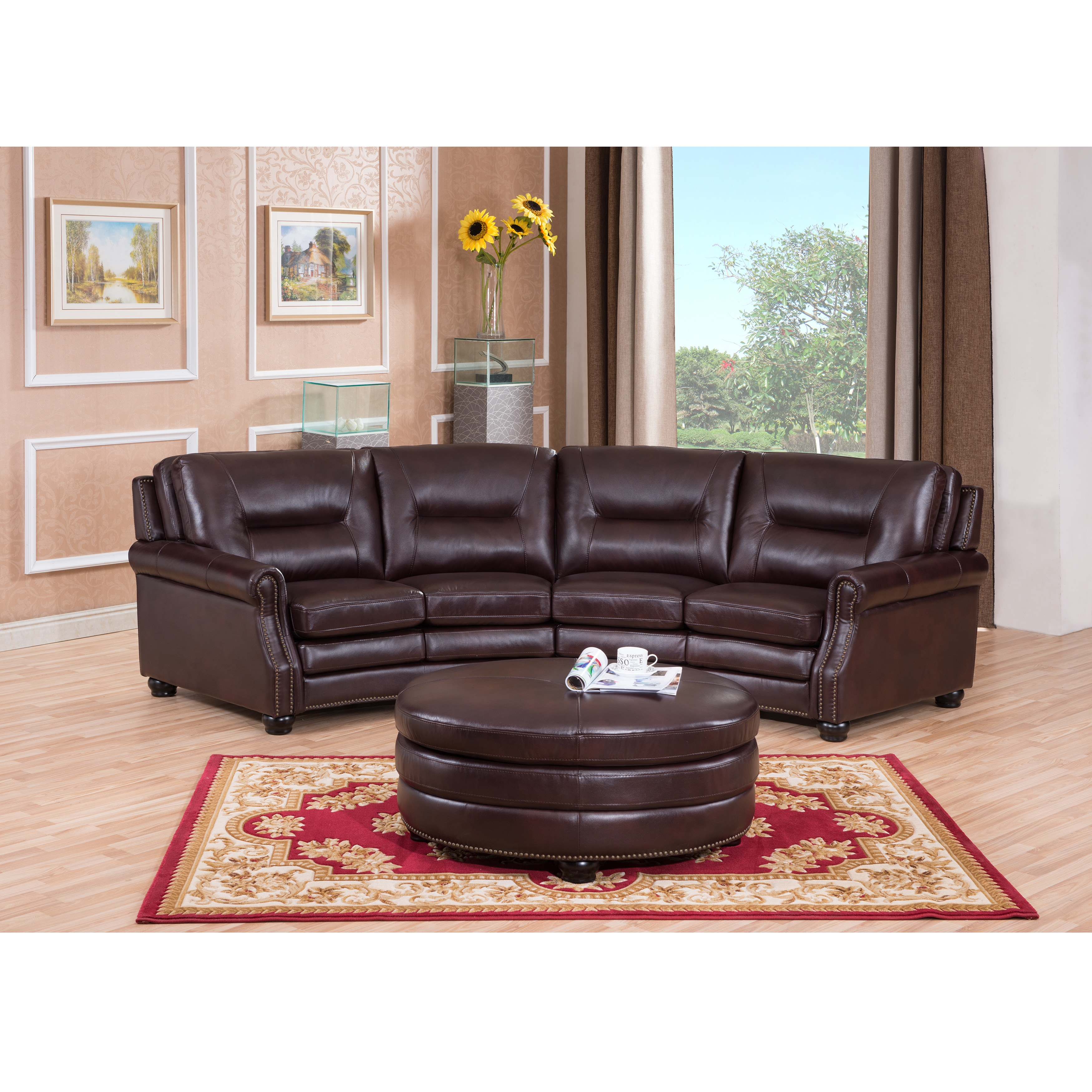 Sofaweb.com Delta Chocolate Brown Curved Top Grain Leather Sectional Sofa  And Ottoman