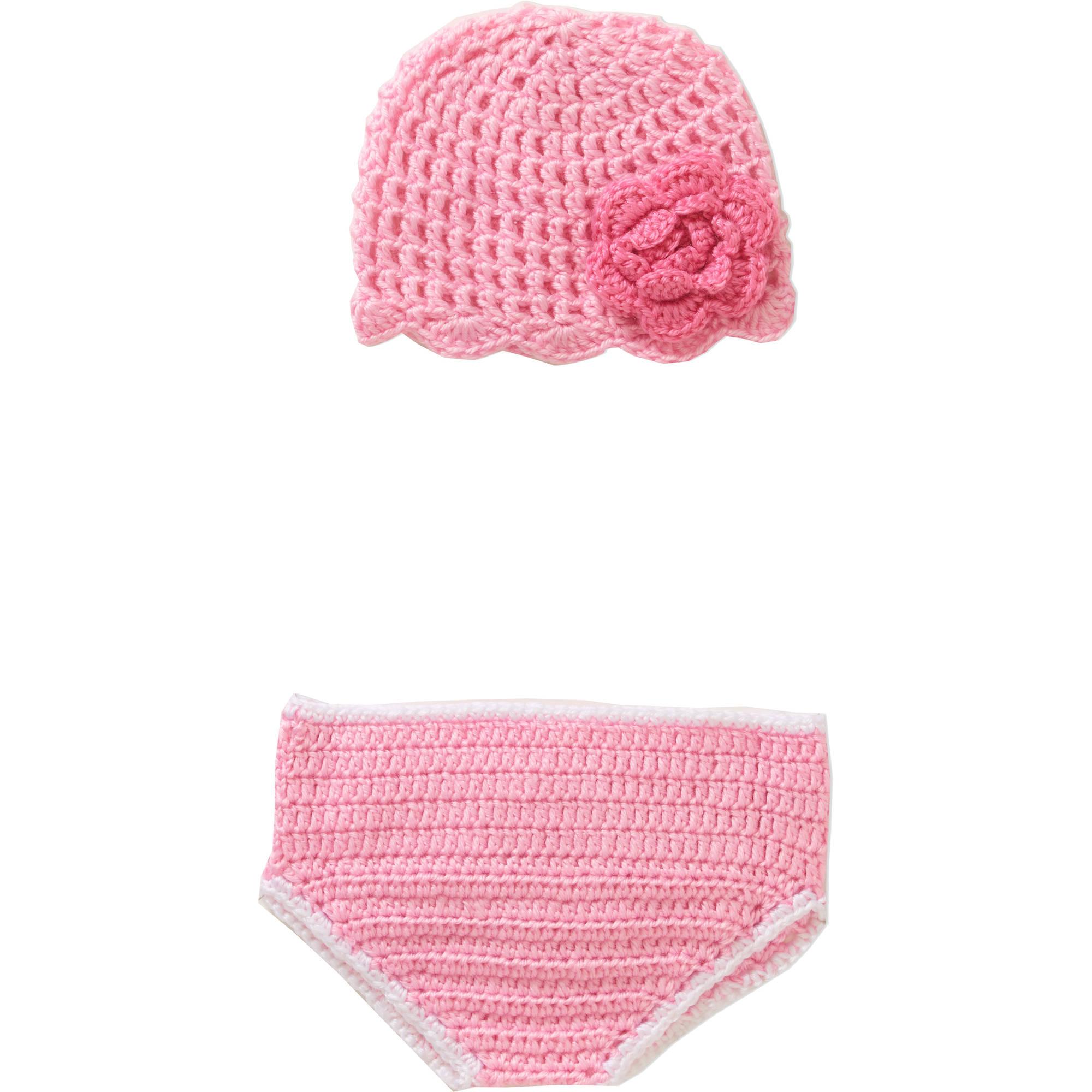 Newborn Baby Crochet Pink Flower Photo Opp 2Pc Set
