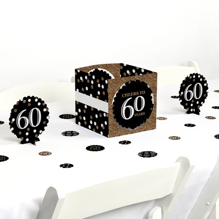Adult 60th Birthday - Gold - Birthday Party Centerpiece & Table Decoration Kit - Birthday Centerpiece Ideas For Adults