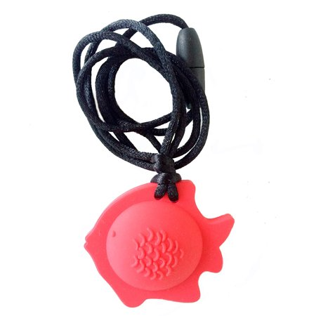 Chubuddy Fish Chewy Pendant With Breakaway Clasp Necklace- Red Color