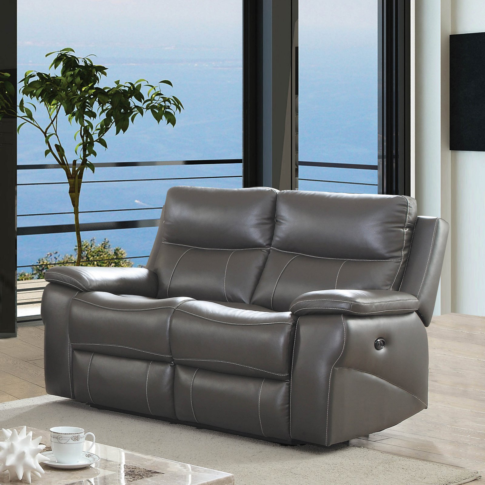 Furniture of America Michael Contemporary Leather Power Recliner Loveseat