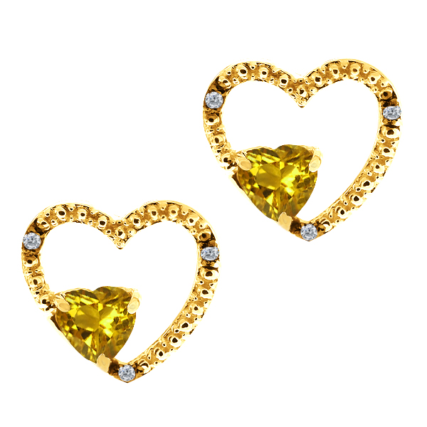 0.96 Ct Heart Shape Yellow Citrine and White Topaz 14k Yellow Gold Earrings