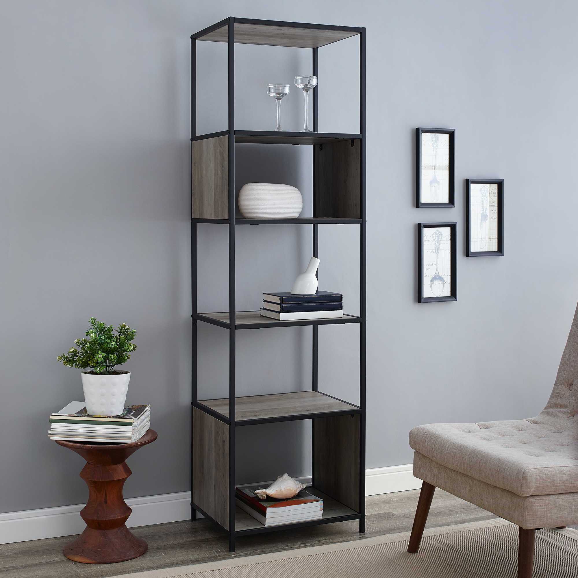 "Manor Park 70"" Urban Industrial Metal and Wood Bookshelf Audio Media Tower - Reclaimed Farmhouse"