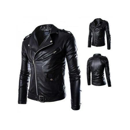 Men Slim Fit PU Leather Biker Jacket Cool Motorcycle Coat Warm Overcoat Outwear Leather Jacket Mens Jackets