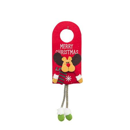 Christmas Tree Ornaments Home Door Handle Decoration Hanging Decorative Pendant Santa Claus Snowman Reindeer