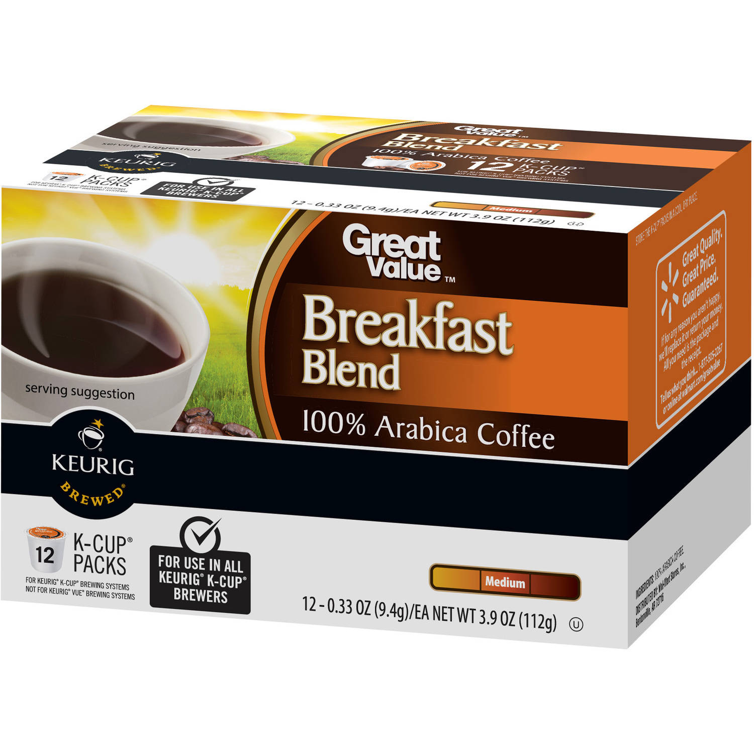 Great Value Breakfast Blend Medium Roast Coffee K-Cup Packs, 0.33 oz, 12 count