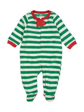 Elowel Baby Boys Girls Footed Fleece Christmas Striped Pajama Sleeper Size 6M-5Y