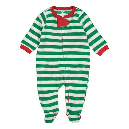 Elowel Baby Boys Girls Footed Fleece Christmas Striped Pajama Sleeper Size 6M-5Y](Baby Christmas Pajamas)