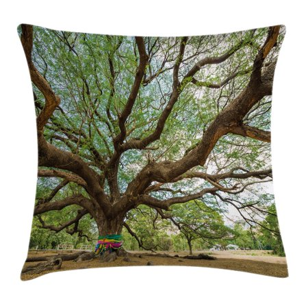 Nature Throw Pillow Cushion Cover, Magnificent Rain Tree in Thailand with Long Branches Rural Scenery Growth Picture, Decorative Square Accent Pillow Case, 16 X 16 Inches, Brown Green, by Ambesonne