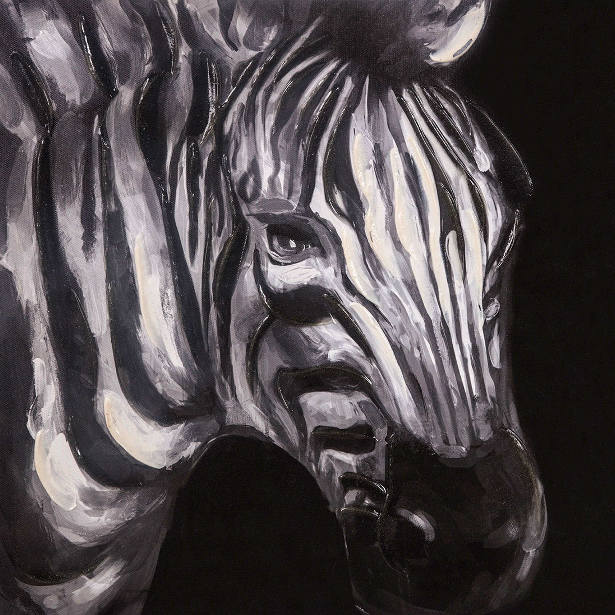 Painted Zebra Canvas Wall Art - 20 x 20 in.