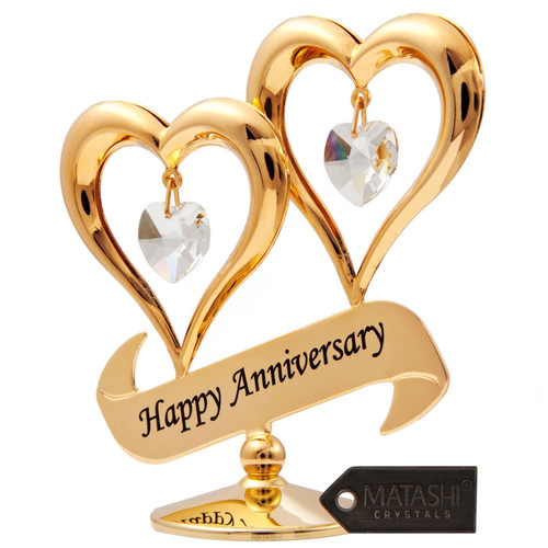24k Gold Plated Double Heart With Happy Anniversary Banner