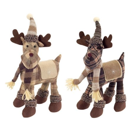 set of 2 country cabin plush brown and tan plaid standing moose christmas decorations 115 - Christmas Moose Decorations