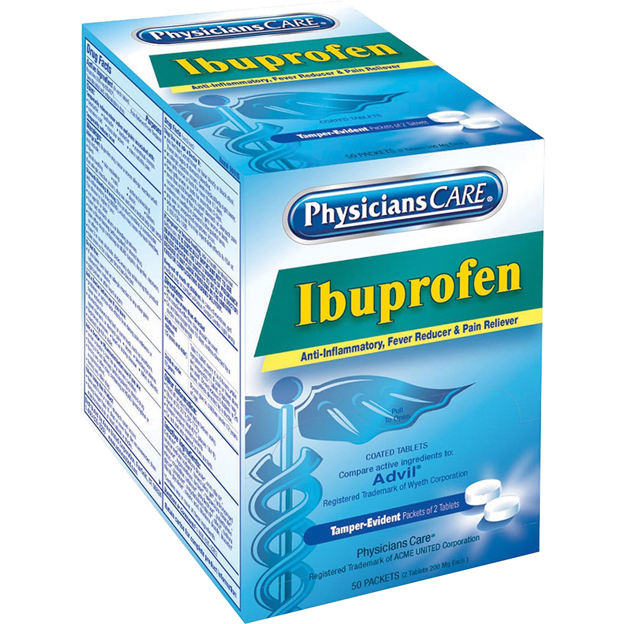 PhysiciansCare, ACM90015, St. Vincent Brand Ibuprofen Single Packets, 50 / Box
