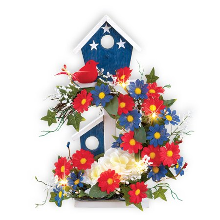 Patriotic Birdhouse Lighted Floral Tabletop Decoration for July 4th, Memorial - 4th July Decorations
