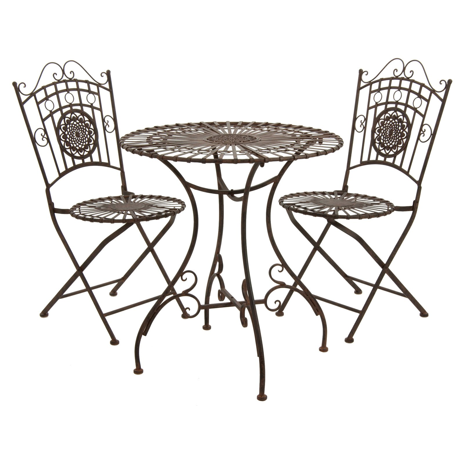 Oriental Furniture Rustic Wrought Iron Patio Bistro Set