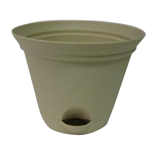 "11.54"" Flare Self-Watering Plastic Planter, Cream by Missry Associates"